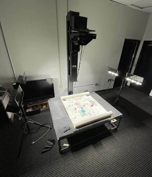 Large Format scanning set up, with scroll on vacuum table.